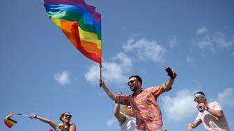People take part in the annual Gay Pride parade in San Juan, Puerto Rico, on June 3, 2018. (Photo by Ricardo ARDUENGO / AFP)        (Photo credit should read RICARDO ARDUENGO/AFP/Getty Images)