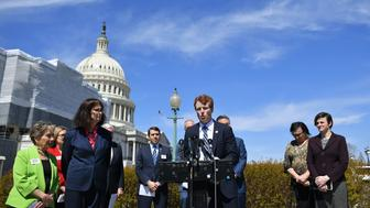 Representative Joe Kennedy III, D-MA, takes part in a press conference on a resolution rejecting US President Donald Trump's transgender military ban at the House Triangle outside the US Capitol in Washington, DC on March 28, 2019. (Photo by MANDEL NGAN / AFP)        (Photo credit should read MANDEL NGAN/AFP/Getty Images)