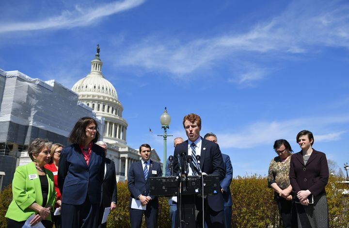 Rep. Joe Kennedy III (D-Mass.) speaks at a press conference outside the Capitol Thursday on the resolution he sponsored that