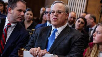 David Bernhardt, U.S. secretary of interior nominee for U.S. President Donald Trump, waits for the start of a Senate Energy and Natural Resources Committee confirmation hearing in Washington, D.C., U.S., on Thursday, March 28, 2019. Bernhardt's Senate confirmation hearing to become permanent secretary will likely be full of partisan sparring over his oil and gas industry ties, and spotlight recent revelations on his efforts to block a report on pesticide risks. Photographer: Anna Moneymaker/Bloomberg via Getty Images