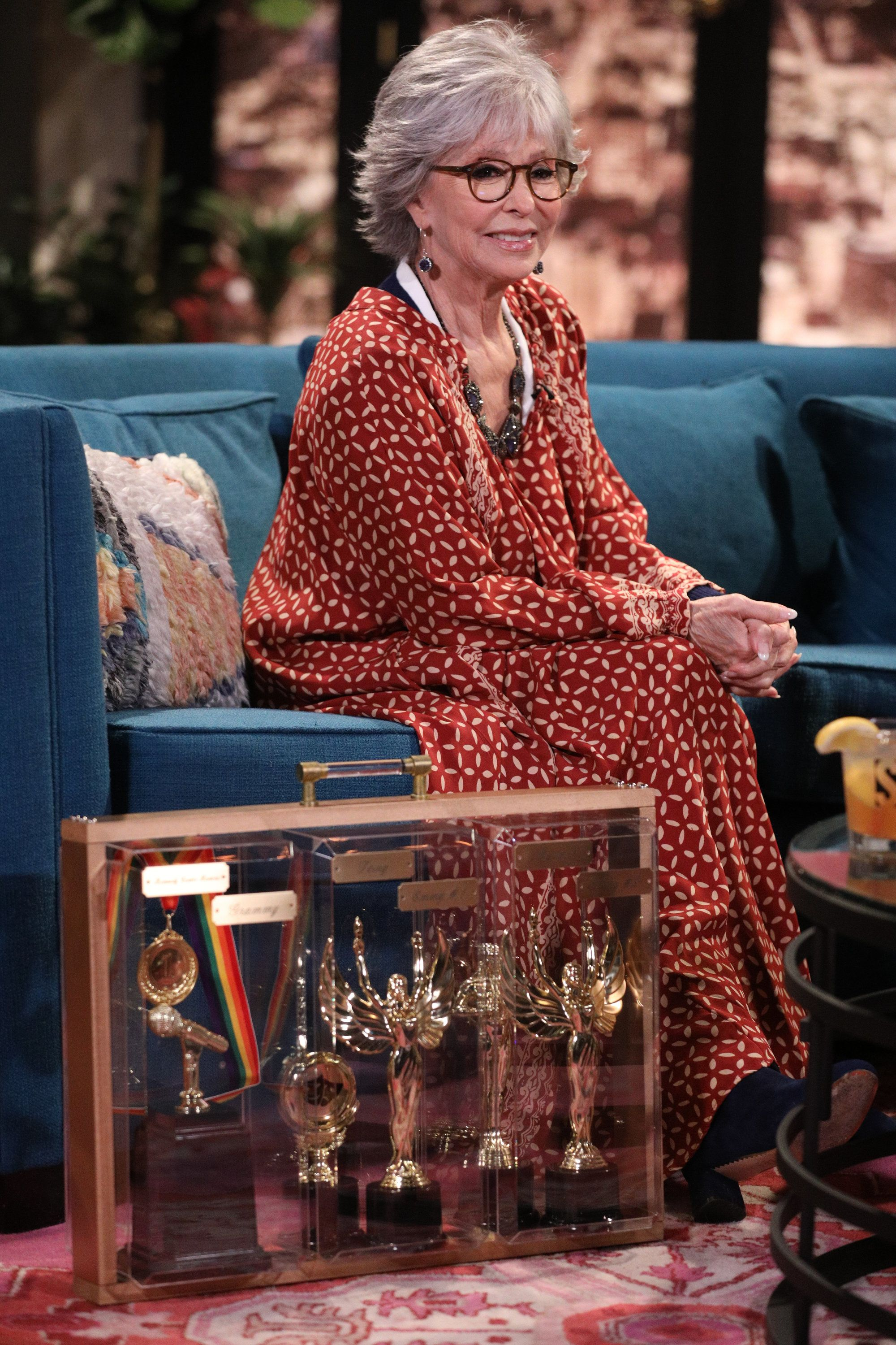 BUSY TONIGHT -- Episode 1068 -- Pictured: Guest Rita Moreno on the set of Busy Tonight -- (Photo by: Jordin Althaus/E! Entertainment/NBCU Photo Bank via Getty Images)