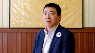 Entrepreneur and 2020 presidential candidate Andrew Yang poses for a portrait after a campaign stop at the train depot on February 1, 2019 in Jefferson, Iowa. (Photo by Joshua Lott / AFP)        (Photo credit should read JOSHUA LOTT/AFP/Getty Images)