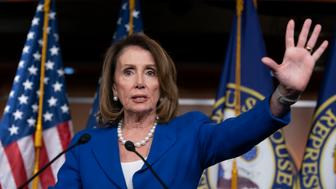 "House Speaker Nancy Pelosi heaps scorn on Attorney General William Barr, saying his letter about special counsel Robert Mueller's report was ""condescending,"" after Barr concluded there was no evidence that President Donald Trump's campaign ""conspired or coordinated"" with the Russian government to influence the 2016 election, during a news conference on Capitol Hill in Washington, Thursday, March 28, 2019. Pelosi also defended House Intelligence Committee Chairman Adam Schiff, who faced calls Thursday from Republicans to resign over his comments that there was significant evidence the president and his associates conspired with Russia. (AP Photo/J. Scott Applewhite)"