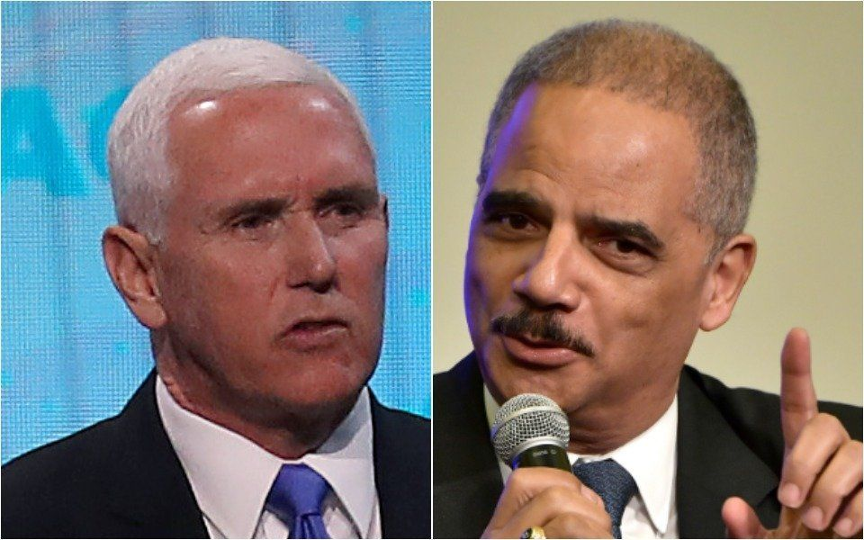 Mike Pence and Eric Holder
