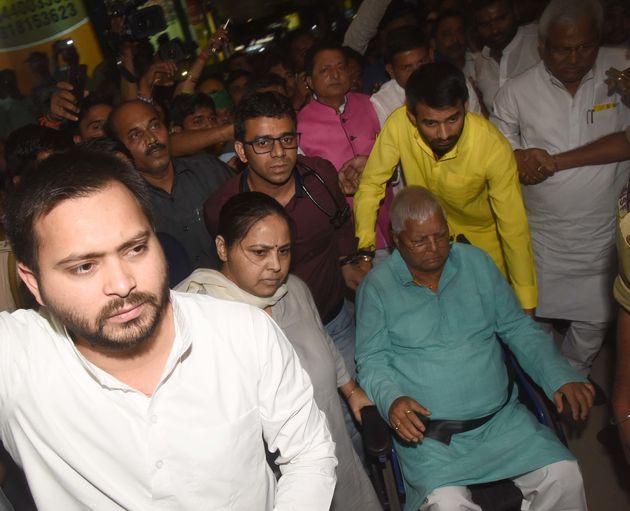 Tejashwi with his father Lalu Yadav, elder sister Misa Bharati and elder brother Tej Pratap in a file