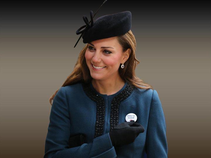 The Duchess of Cambridge wearing TFL's baby on board badge.