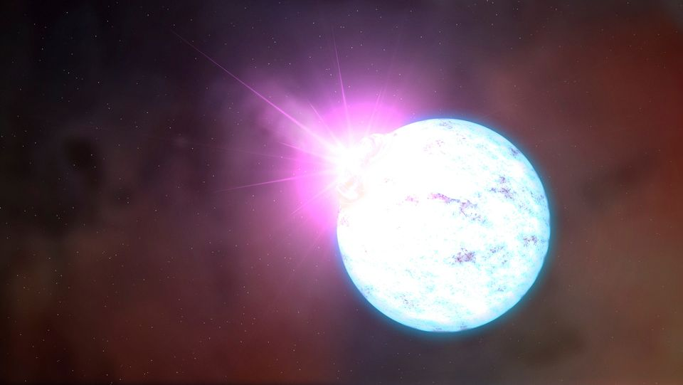 An artist's rendering of an outburst on an ultra-magnetic neutron star, also called a magnetar is shown...