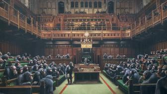 The painting 'Devolved Parliament' by the graffiti artist Banksy, which is going on show at Bristol Museum.