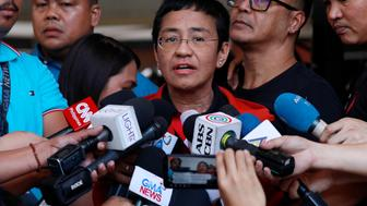Rappler CEO and Executive Editor Maria Ressa speaks to the media after posting bail in Pasig Regional Trial Court in Pasig City, Philippines, March 29, 2019. REUTERS/Eloisa Lopez
