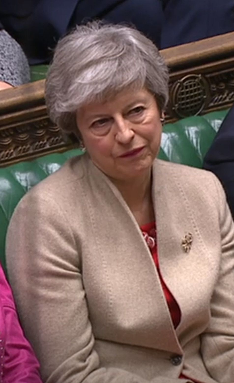 Prime Minister Theresa May listens the Brexit debate in the House of Commons.