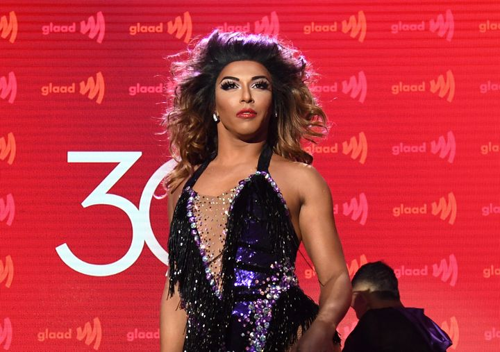 Shangela takes the stage at the GLAAD Media Awards in Los Angeles on Thursday night.