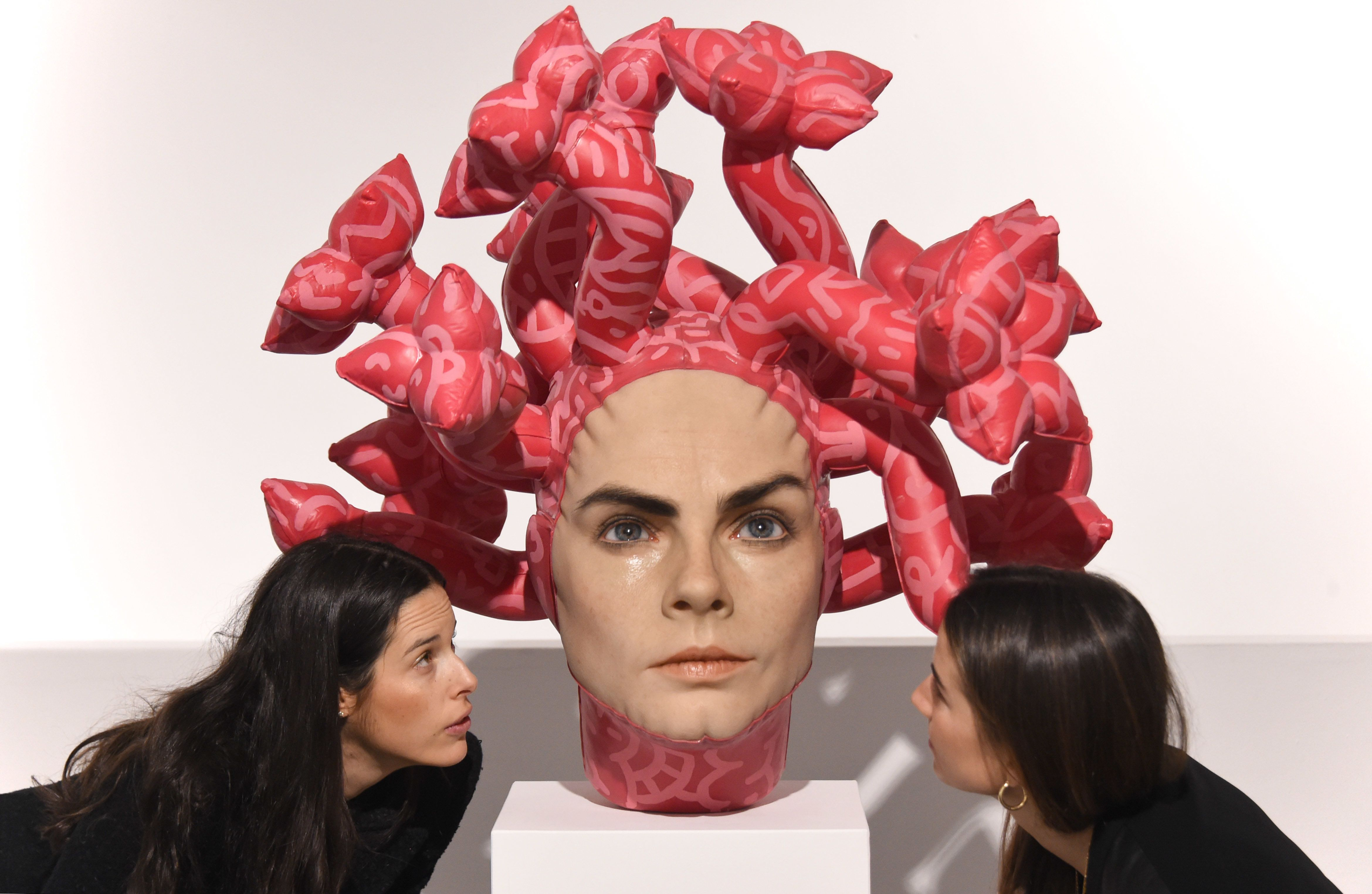LONDON, ENGLAND - MARCH 27: Aspencrow's 'Olympe' sculpture is unveiled at JD Malat Gallery on March 27, 2019 in London, England. The artwork by contemporary sculpture Edgar Askelovic depicts model and actress Cara Delevingne. (Photo by Stuart C. Wilson/Getty Images)