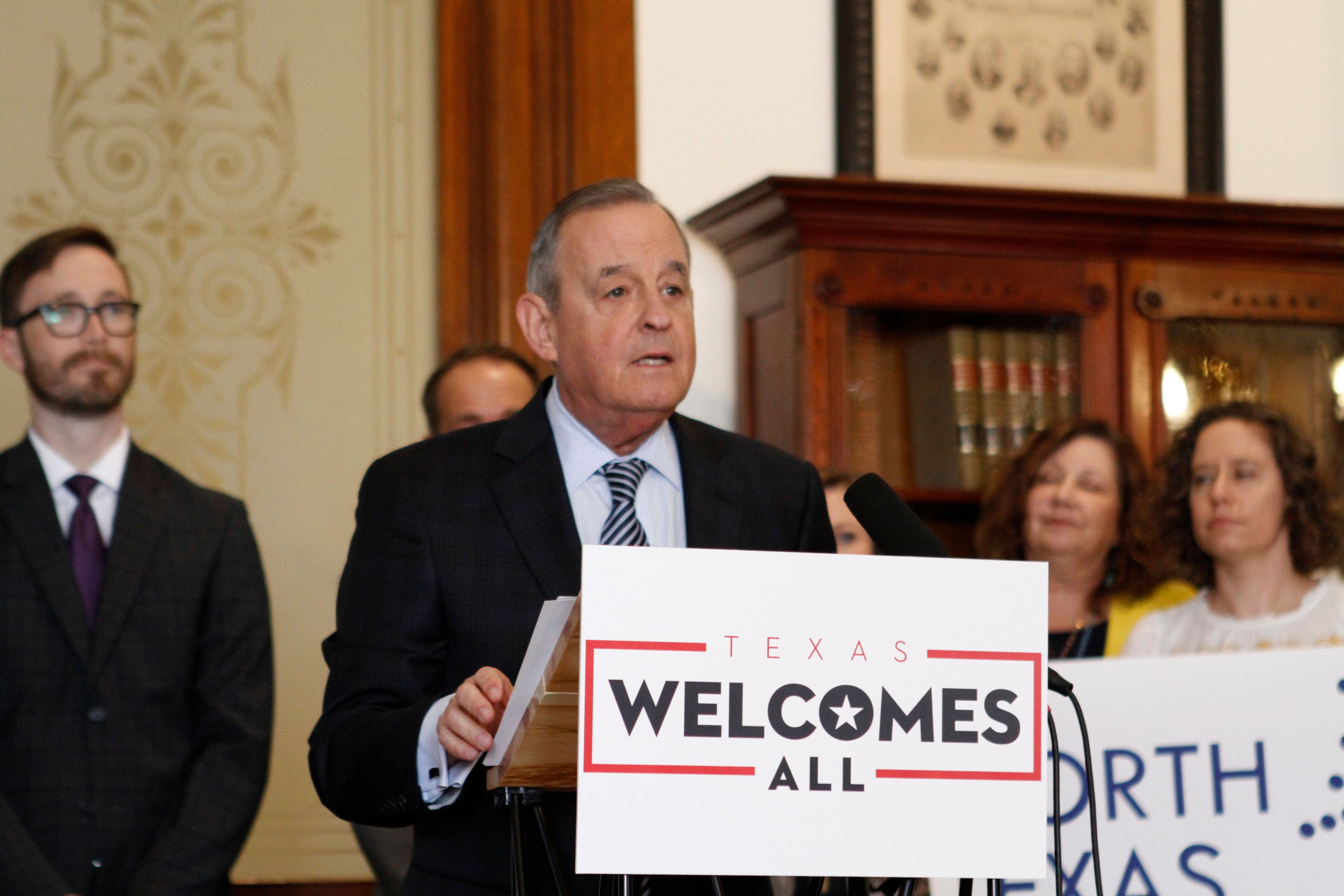John Graham, the president and CEO of American Society of Association Executives, speaks out against a range of Texas bills corporate giants and other businesses are calling discriminatory during a press conference at the Capitol in Austin, Texas, Wednesday, March 27, 2019. (AP Photo/Clarice Silber)