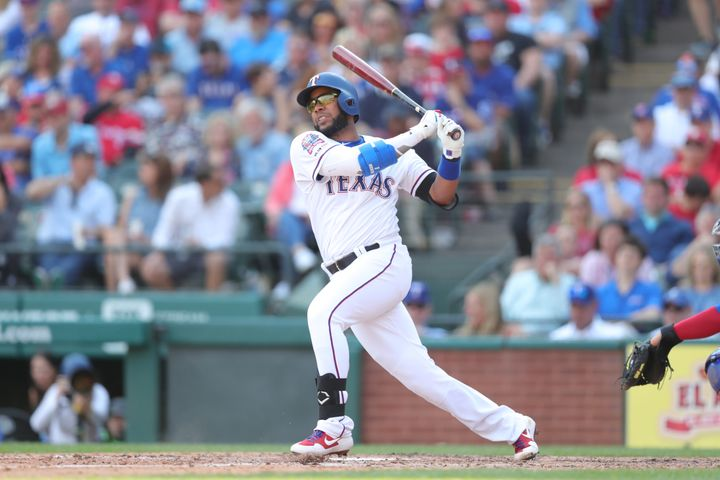 "Elvis Andrus, pictured swinging on opening day, says ""Baby Shark"" is not going away as his walk-up song."