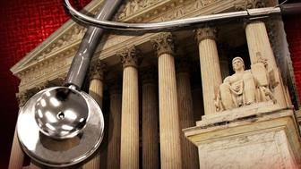 Stethoscope over US Supreme Court building, partial graphic