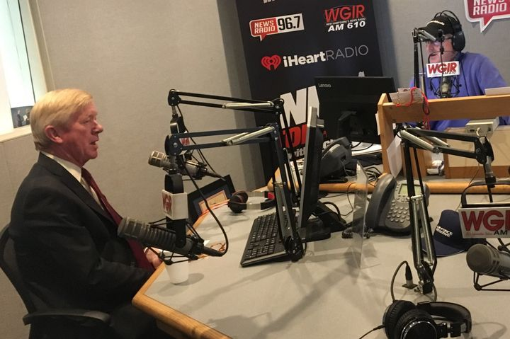 Former Massachusetts Gov. Bill Weld appears on talk radio host Jack Heath's show in Manchester.