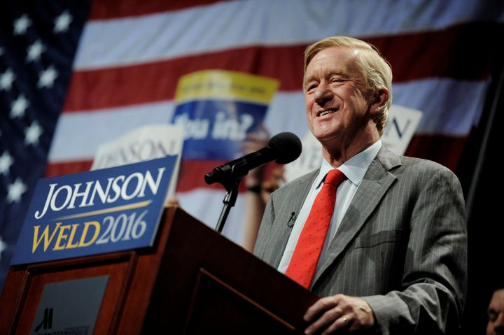 Bill Weld, then a Libertarian vice presidential candidate, speaks at a rally in New York on September 10, 2016.