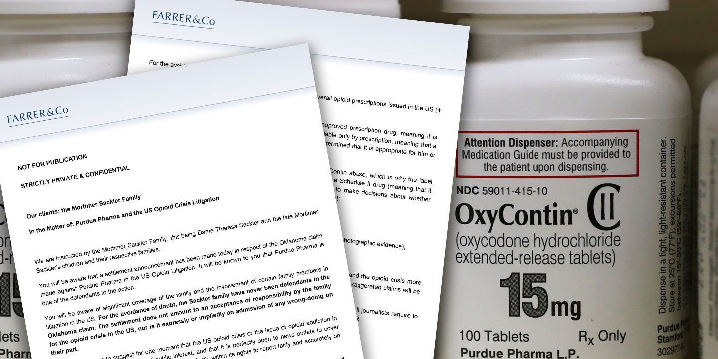 Letter from Sackler family lawyer on stories about OxyContin, opioids and lawsuits.