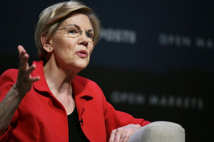 Sen. Elizabeth Warren addresses foreign ownership of American farmland at the Heartland Forum in Storm Lake, Iowa, a candidat