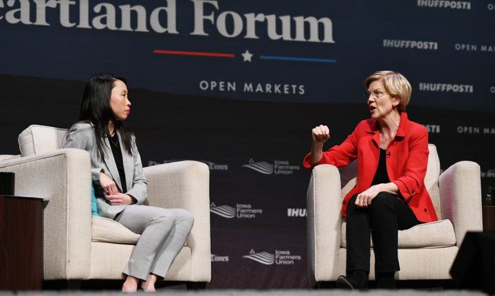 HuffPost Washington bureau chief Amanda Terkel, left, listens as Sen. Elizabeth Warren (D-Mass.) answers a question during Sa