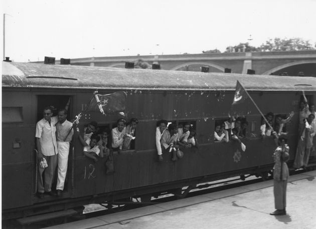 7th August 1947: One of 30 special trains leaving New Delhi Station taking the staff of the Pakistan...
