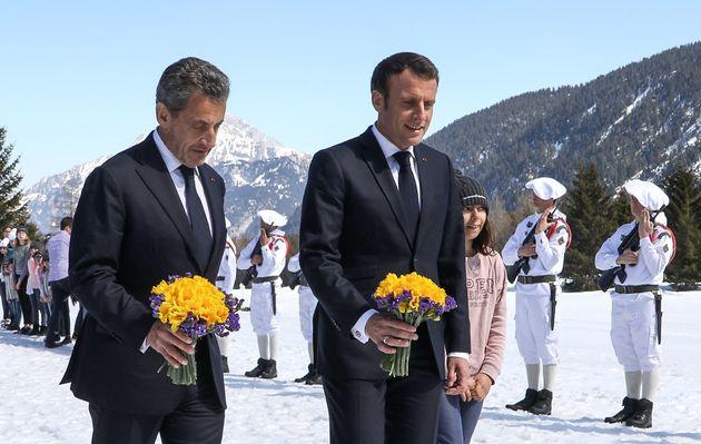 Emmanuel Macron et Nicolas Sarkozy lors de la cérémonie du 75e anniversaire des combats...