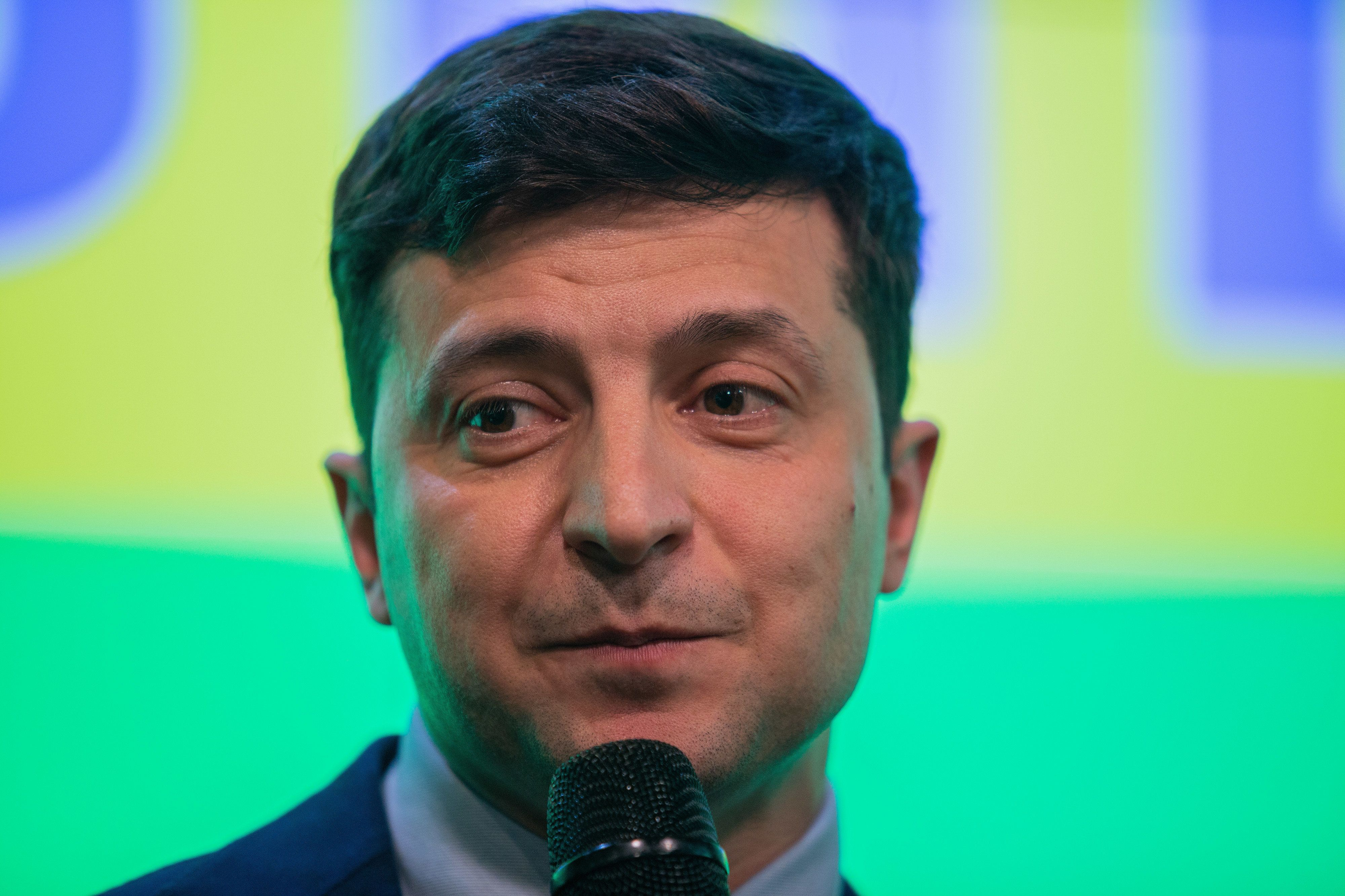 Volodymyr Zelenskiy, comedian and presidential candidate, speaks to members of the media following election results in Kiev, Ukraine, on Sunday, March 31, 2019. Ukraine's leader Petro Poroshenko will face a runoff next month against Zelenskiy to hold on to the presidency, according to an exit poll following the first round of elections on Sunday. Photographer: Taylor Weidman/Bloomberg via Getty Images