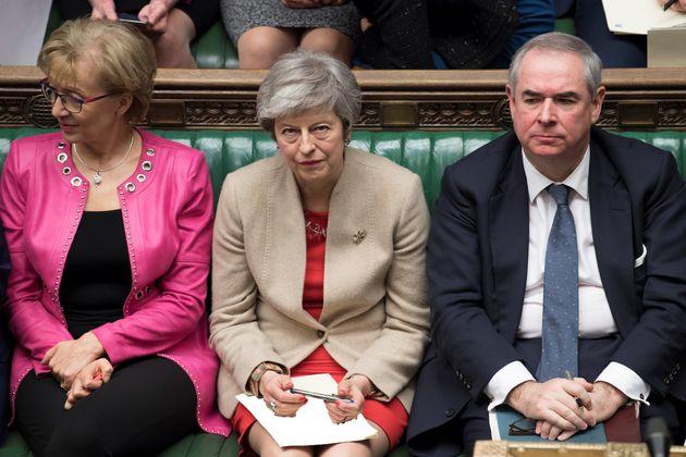 테레사 메이 영국 총리(가운데)의 오른쪽에는 안드레아 레드섬 하원 원내총무가, 왼쪽에는 데이비드 고커 법무장관이 앉아있다. 두 사람은 EU 관세동맹 잔류에 대해 정반대의 입장을 가지고 있다.