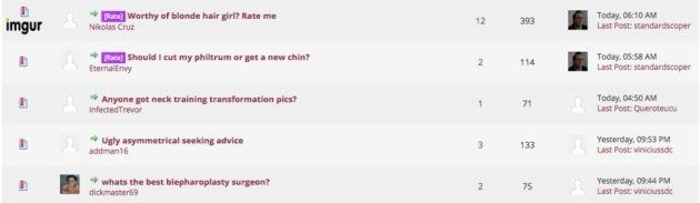 """Quelques messages récents de Lookism.net, dont """"Digne d'une femme? Évaluez-moi."""""""
