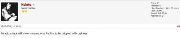 Un membre de l'un des forums incel suggère que les non-incels méritent d'être attaqués à l'acide.