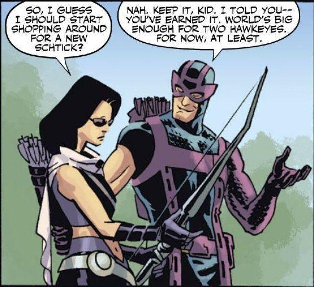 Les deux Hawkeye, Kate Bishop et Clint Barton, se