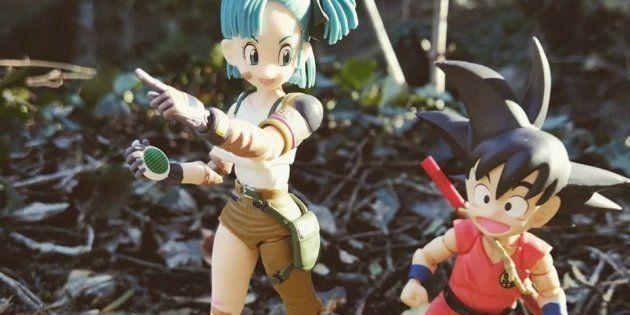 Voici une figurine de Bulma et Goku mis en scène en pleine nature. Plusieurs collectionneurs s'adonnent...