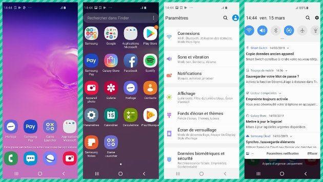 Le Samsung Galaxy S10E tourne sous le même système d'exploitation OneUI que les Samsung Galaxy S10 et...