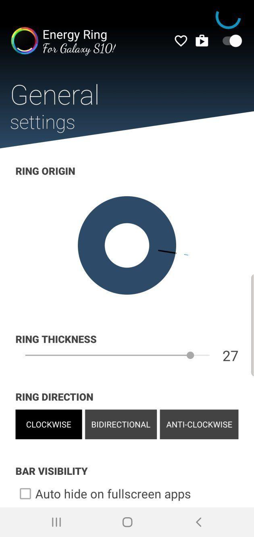 Les paramètres de l'application Energy Ring sont