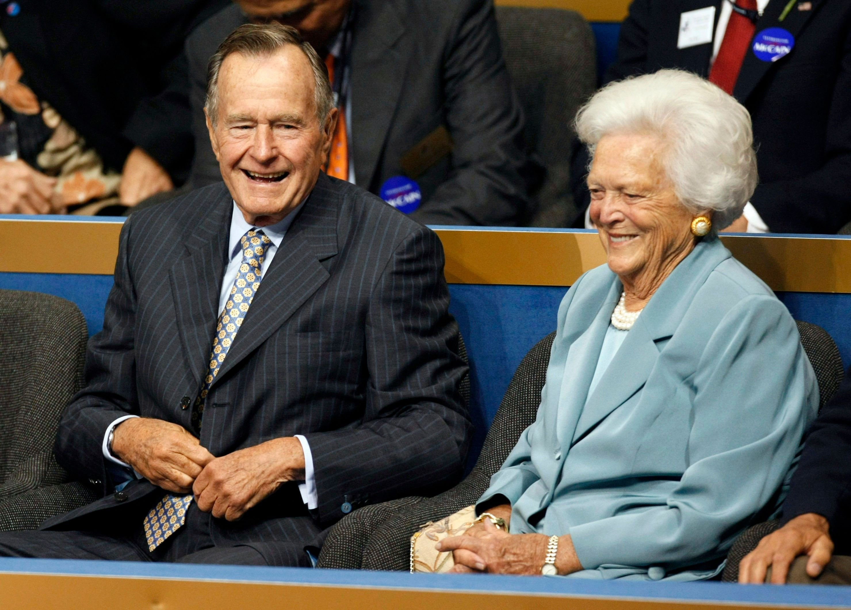 Former President George H. W. Bush and his wife Barbara Bush arrive at the second session of the 2008 Republican National Convention in St. Paul, Minnesota in this file photo taken on September 2, 2008. Barbara Bush was taken to a Houston, Texas, area hospital complaining of abdominal pain, according to news reports.  REUTERS/Rick Wilking/Files       (UNITED STATES)