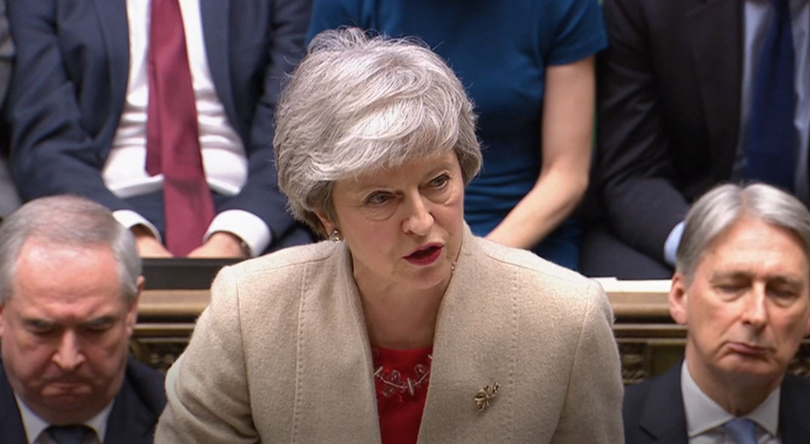 Prime Minister Theresa May speaks after the government's withdrawal agreement was voted down for the third time in the House of Commons.