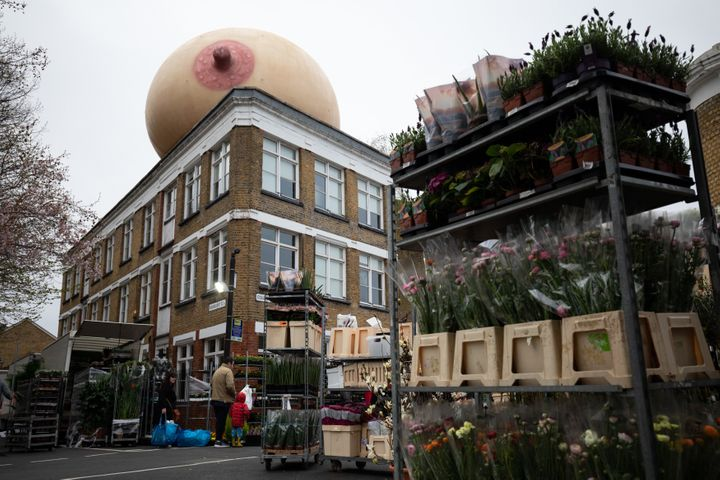 One of the boobs cropped up at London's Colombia Road flower market.