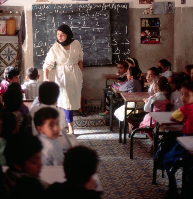Salle de classe à l'école Koubba el Baadiyin, à