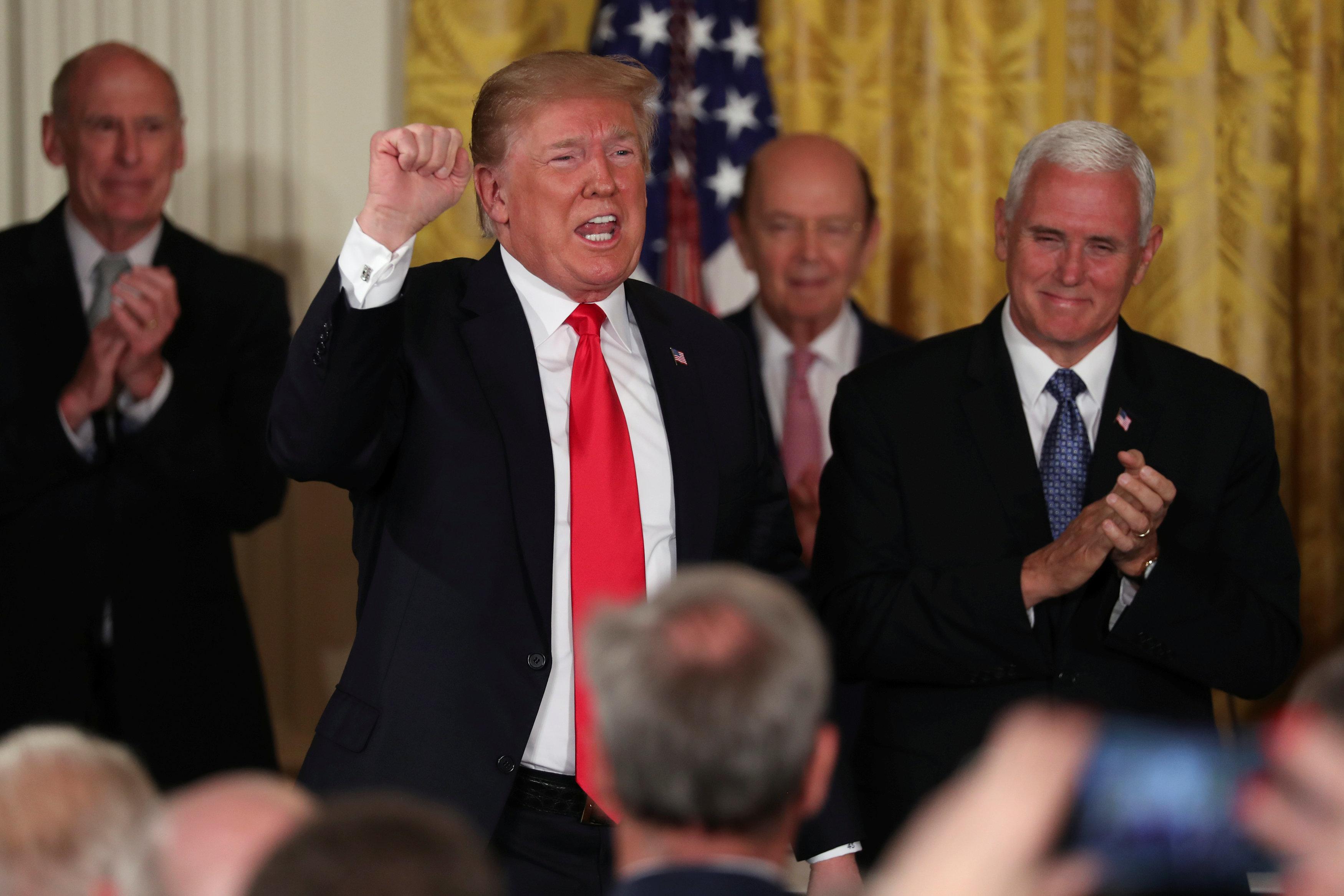 President Donald Trump, Wilbur Ross, Mike Pence