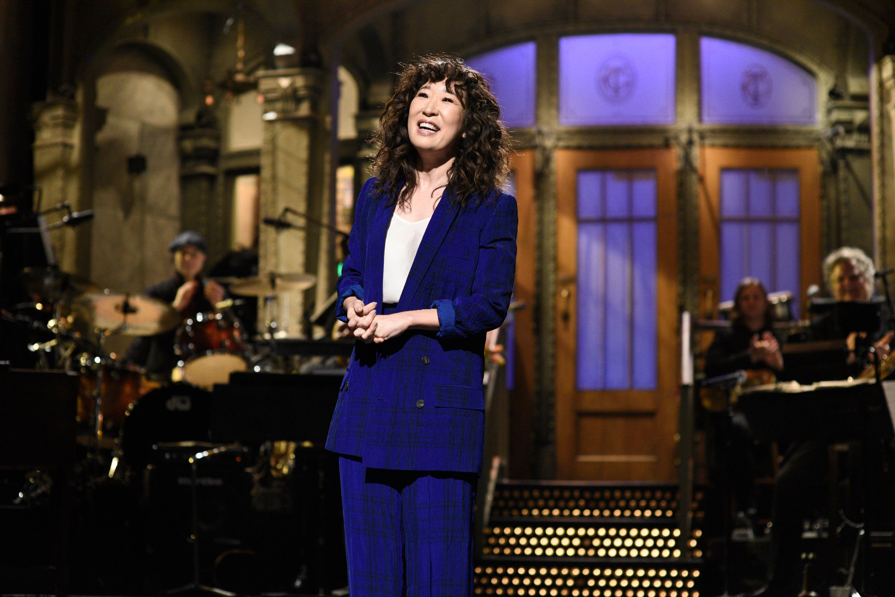 SATURDAY NIGHT LIVE -- 'Sandra Oh' Episode 1762 -- Pictured: Host Sandra Oh during the monologue on Saturday, March 30, 2019 -- (Photo by: Will Heath/NBC/NBCU Photo Bank via Getty Images)