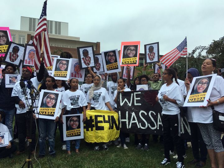 About 200 friends and supporters of Hassanen rally at the Fairfax County Courthouse at a pretrial hearing for Darwin Martinez