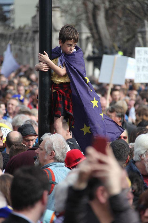 Marcha en favor de un segundo referéndum sobre el Brexit en Londres (Reino Unido), el 23 de marzo...