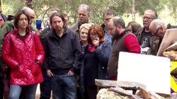 Pablo Iglesias rompe a llorar en la apertura de una fosa común en la que está enterrado su tío