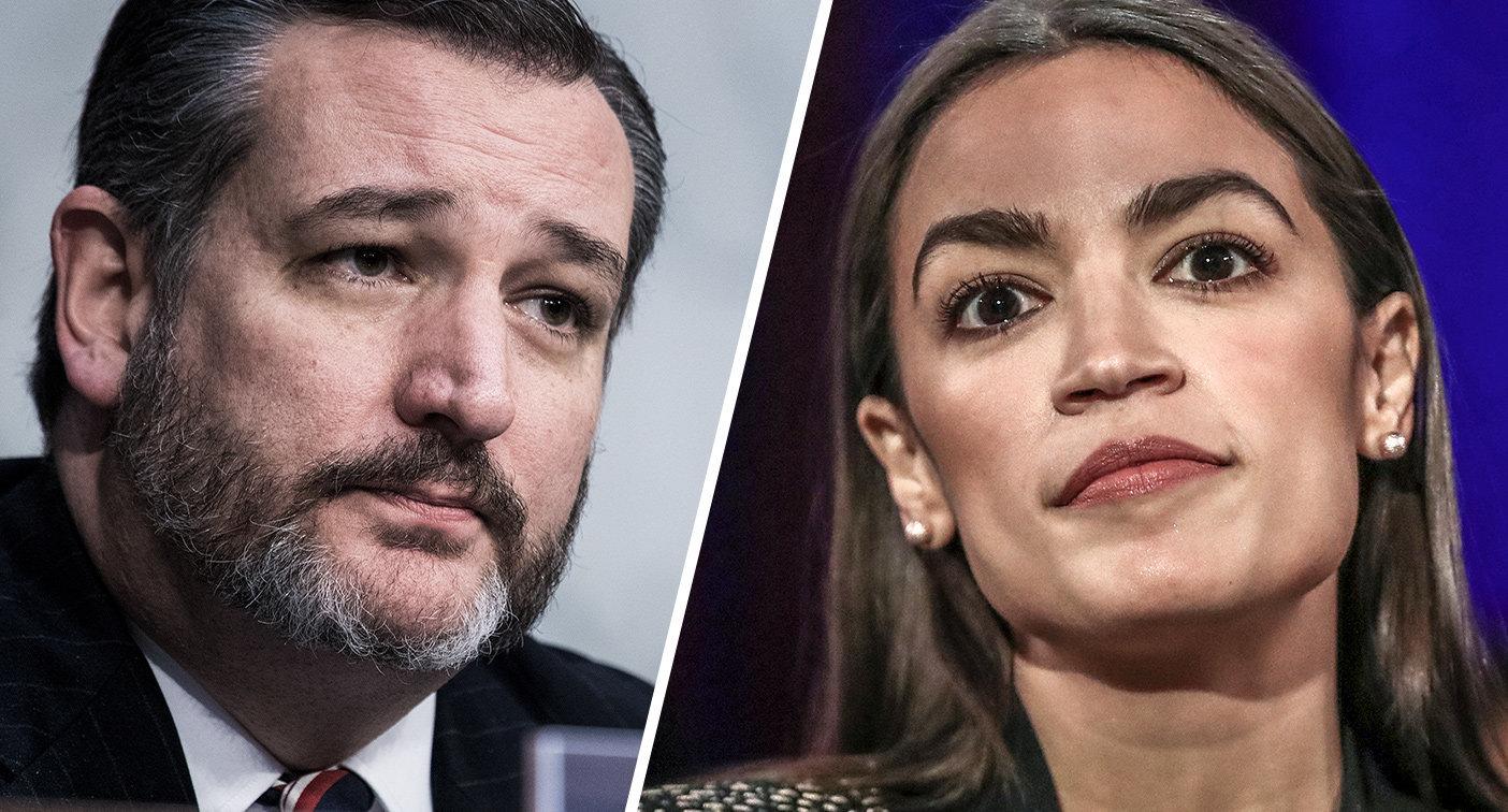 Sen. Ted Cruz, R-Texas, and Rep. Alexandria Ocasio-Cortez, D-N.Y. (Photos: Tom Williams/CQ Roll Call/Getty Images, Jeenah Moon/Reuters)