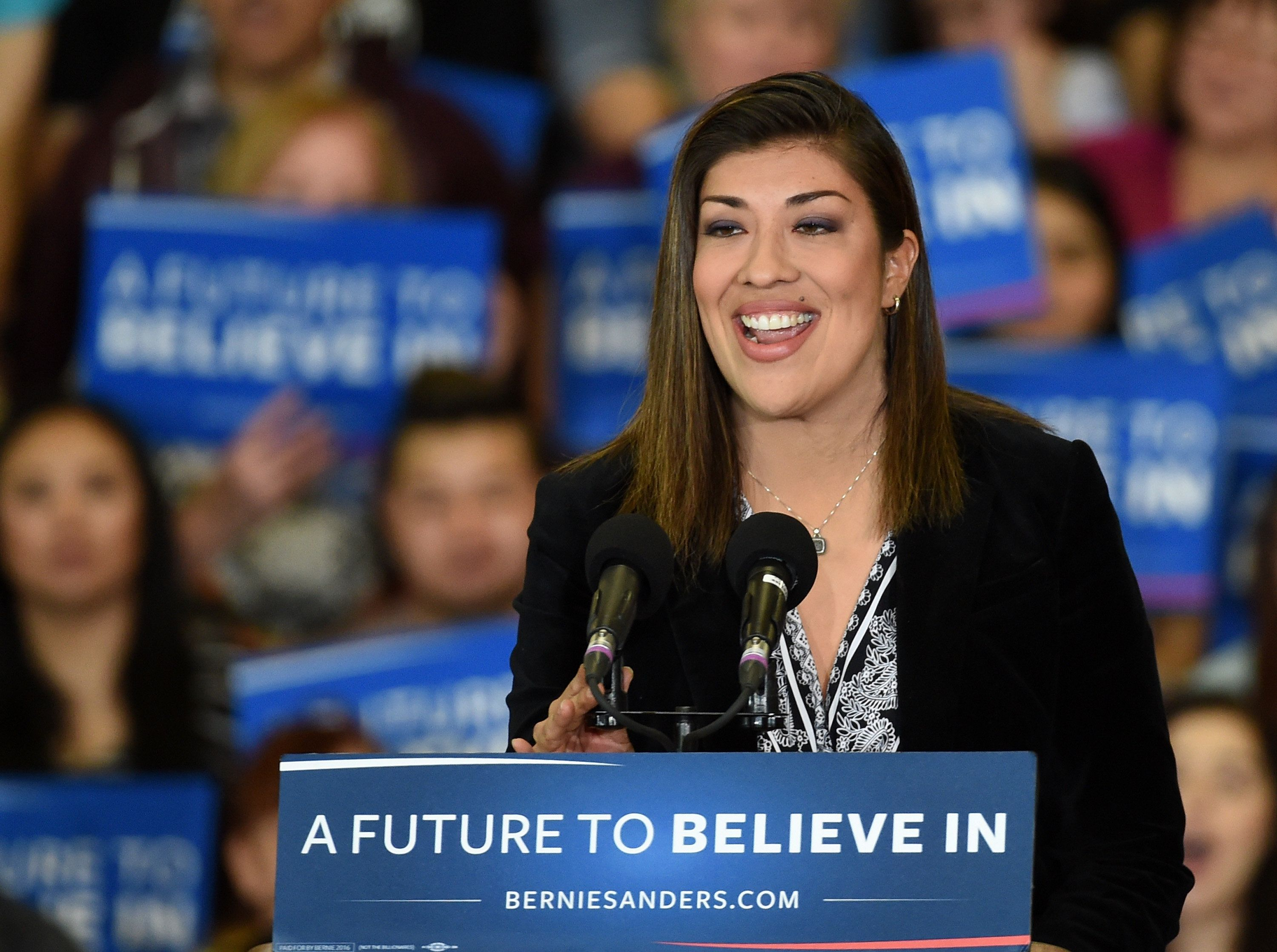 Former Nevada Assemblywoman Lucy Flores speaks at rally in Las Vegas for Sen. Bernie Sanders (I-Vt.) in February 2016. Flores