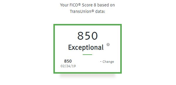A screenshot of Alden's FICO score, which is based on TransUnion credit reporting data and provided by Discover as a customer benefit.