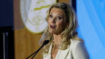 California's new first lady, Jennifer Siebel Newsom, speaks during the inauguration of her husband, Gov. Gavin Newsom, Monday, Jan. 7, 2019, in Sacramento, Calif. (AP Photo/Rich Pedroncelli)