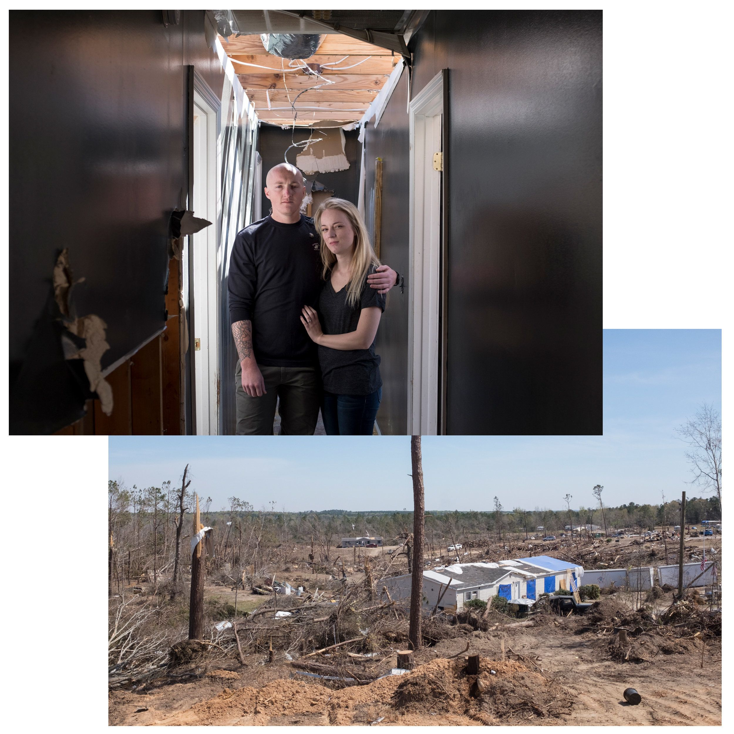 (Top) Chance Norton and her fiance, Phillip Bell. (Bottom) The view overlooking the community along Lee Road 38 in easte