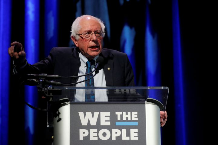 Sen. Bernie Sanders (I-Vt.) at the We the People Summit in Washington, D.C., on April 1. He has been cautious about changing