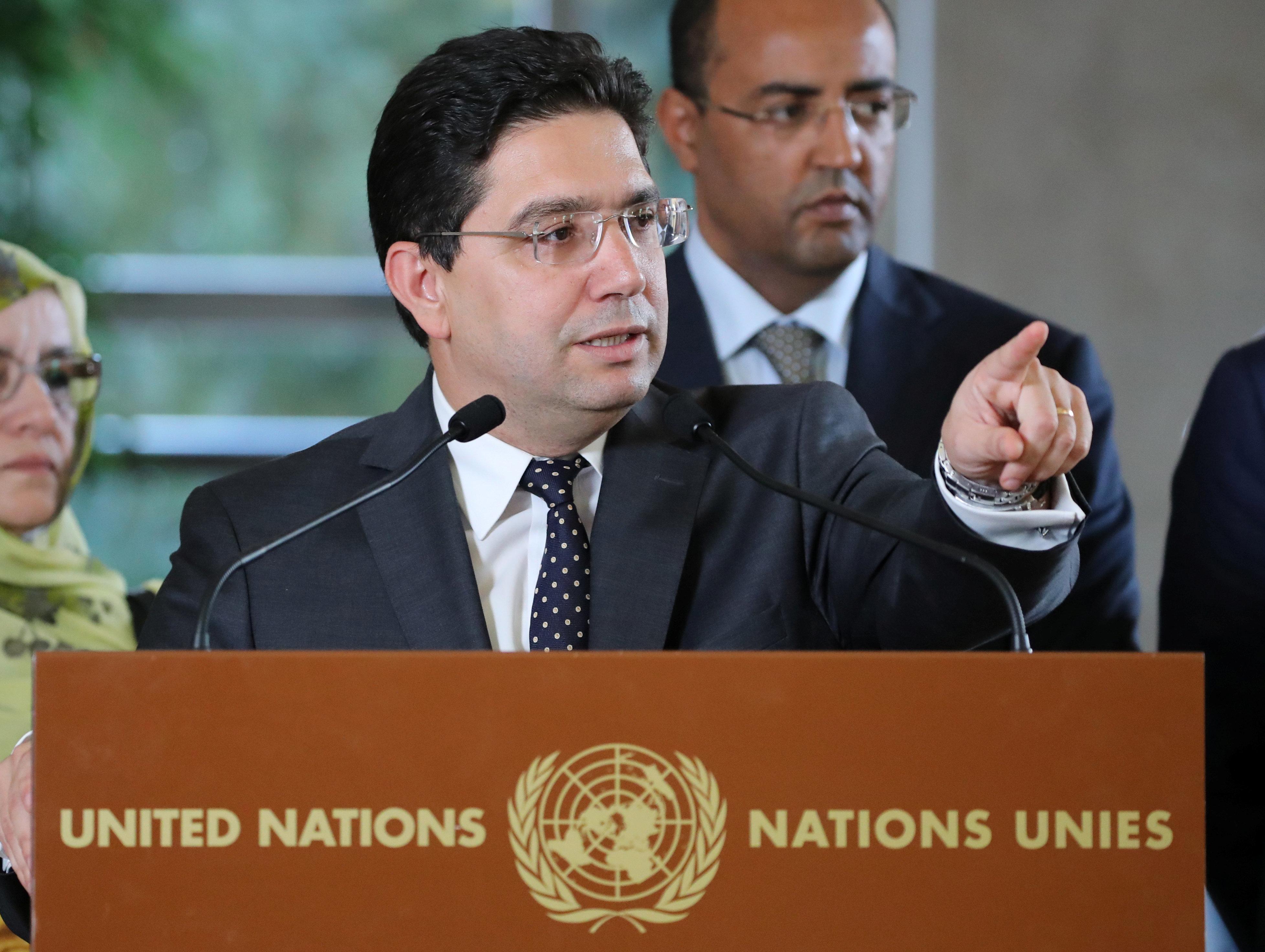 Le ministre marocain des Affaires étrangères, Nasser Bourita, lors d'une conférence...